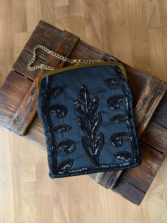Vintage Black Sequin Evening Bag