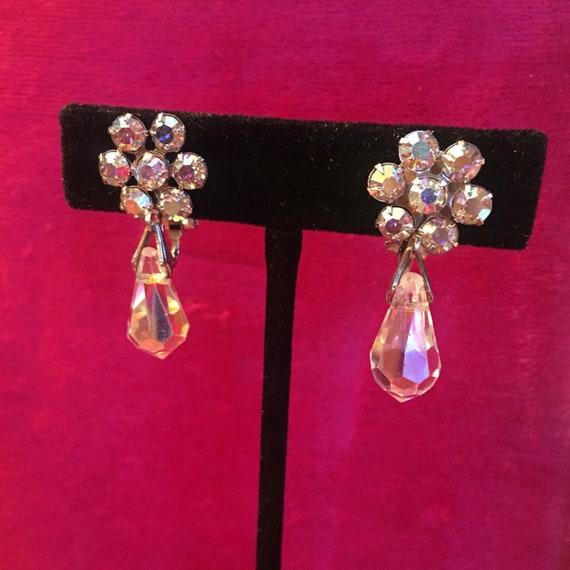 Weiss clip on rhinestone earrings
