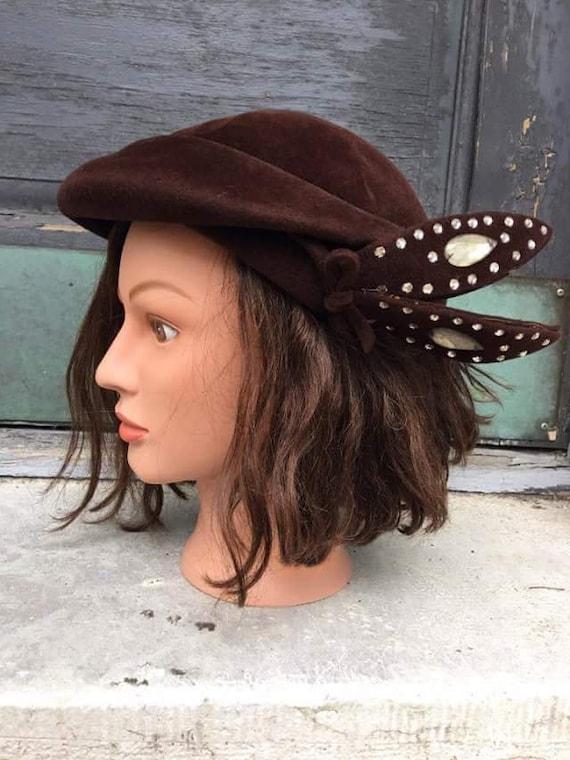 Genuine velour brown hat with rhinestone embellishments