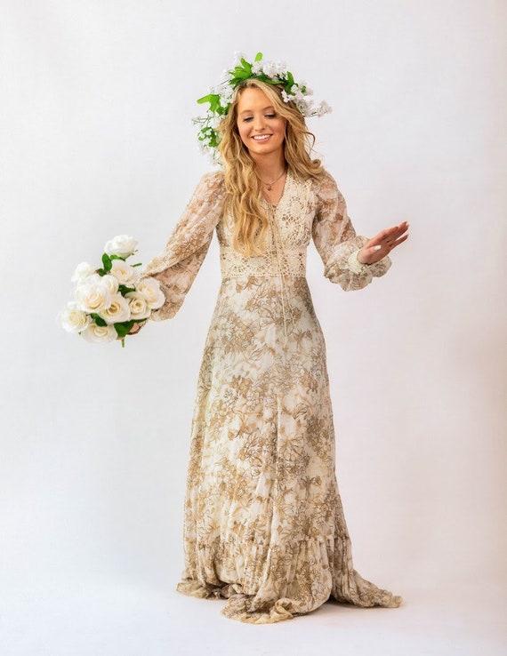 Gunne Sax brown floral boho Prairie Dress - image 5