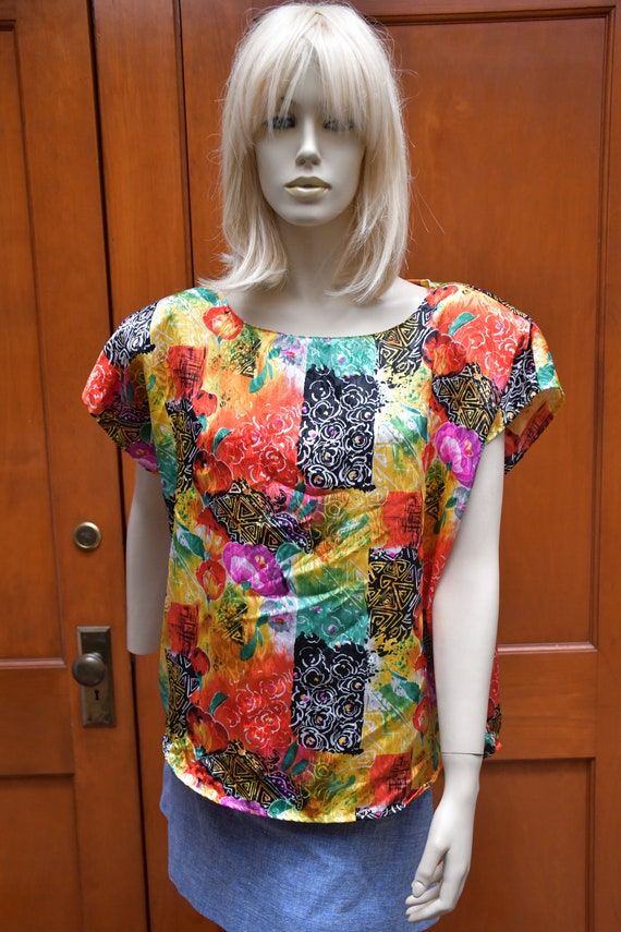 80s Diane Marco colorful blouse