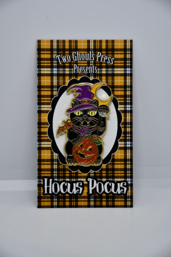 Two Ghouls Press Hocus Pocus Black Cat Enamel Pin
