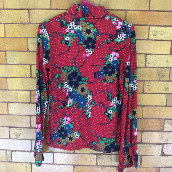 70s floral polka dot button up - image 2