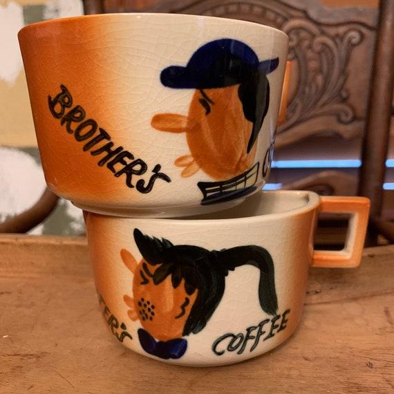 Vintage split coffee mug set
