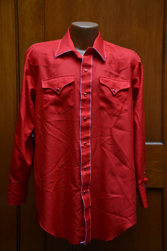 70s H Bar C red western snap shirt