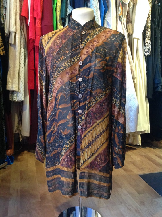 Vintage Gantos Earth Toned Paaterned Blouse