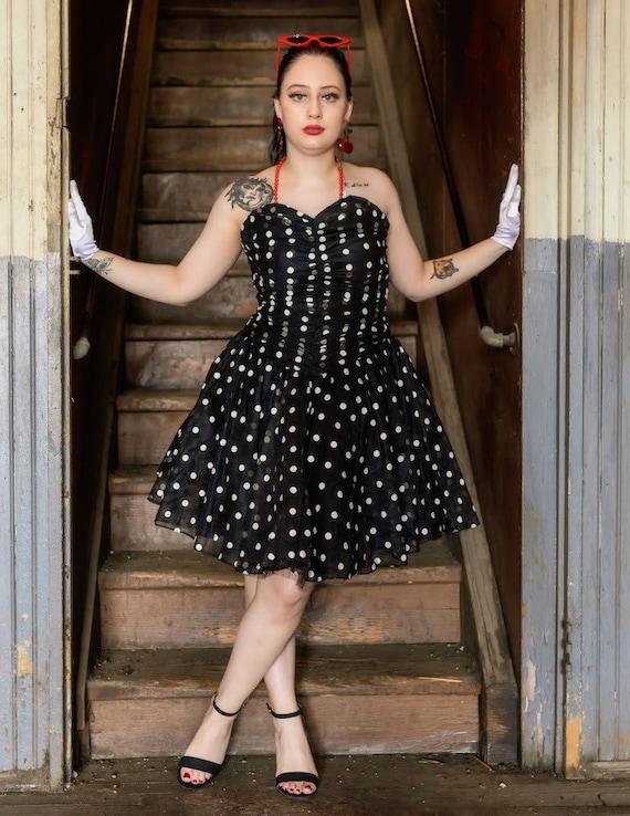 80s does 50s black and white polka dot strapless dress
