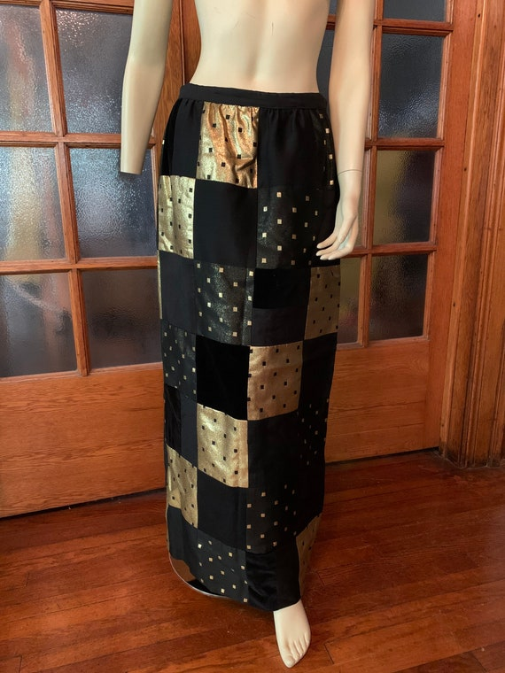 Vintage black and gold patchwork skirt