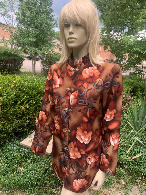 Maggie Sweet brown floral blouse