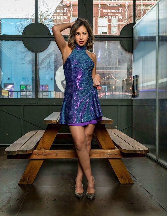 Purple and blue shimmery cocktail dress