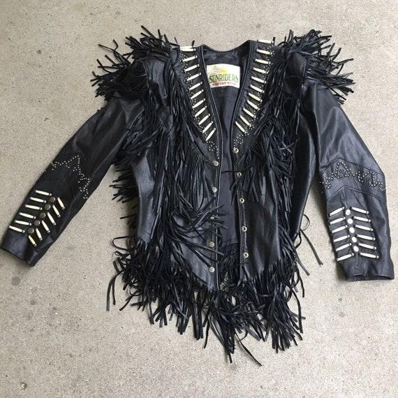 90s fringed leather jacket sunriders western wear