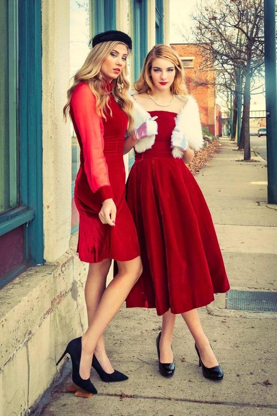 1960s Red Velvet Toni Todd party dress