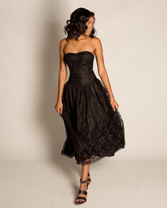 80s black lace strapless dress