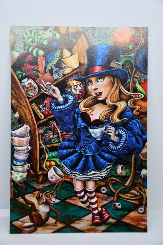 Alice in Wonderland Inspired Postcard Set by Amy Kollar Anderson