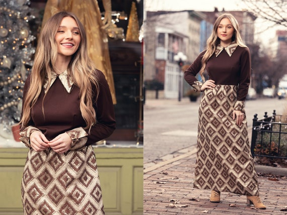 1970s vintage hostess dress gold and brown