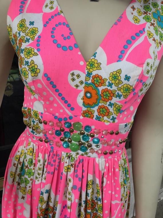 70s pink floral maxi dress