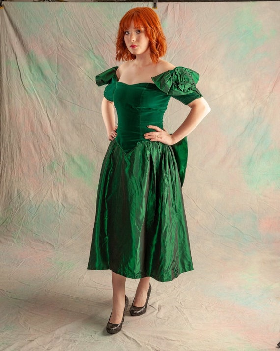 Green tafetta party dress