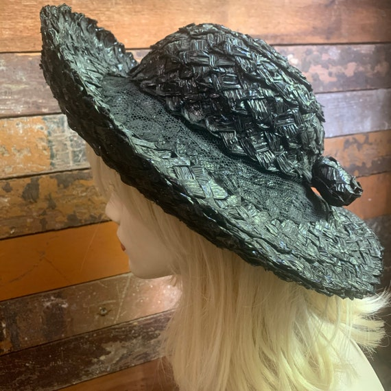 1960s black straw hat