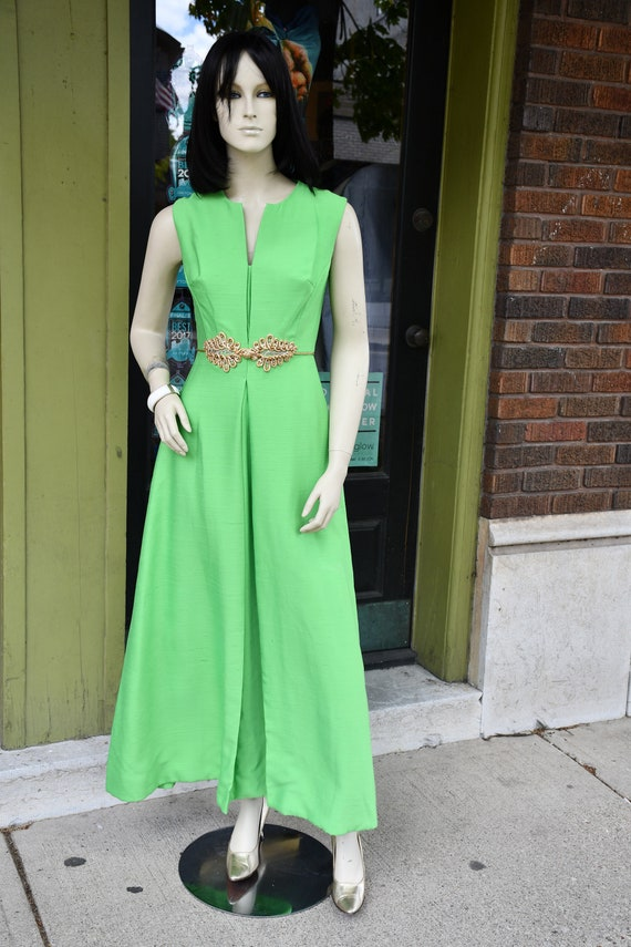 Green and gold 60s hostess dress