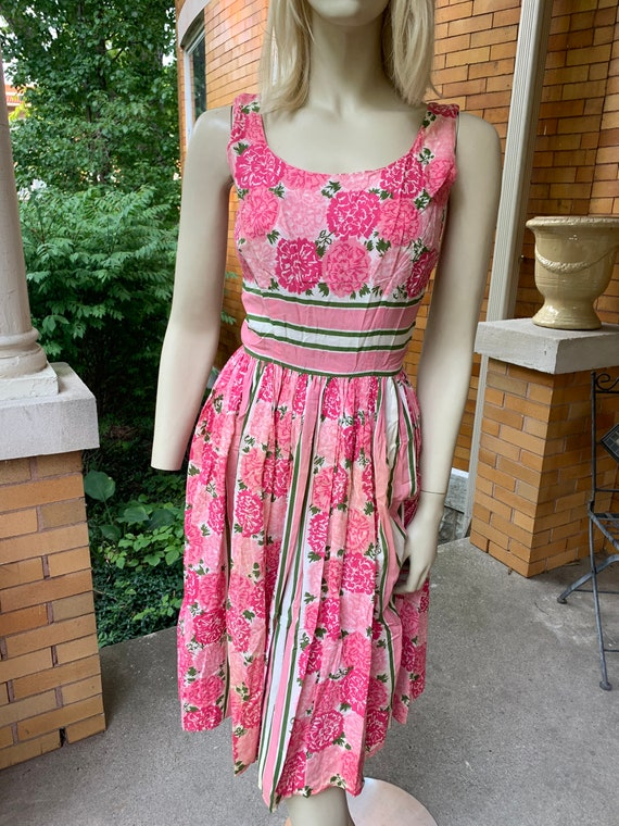 1950s pink floral cotton dress by Jerry Gilden