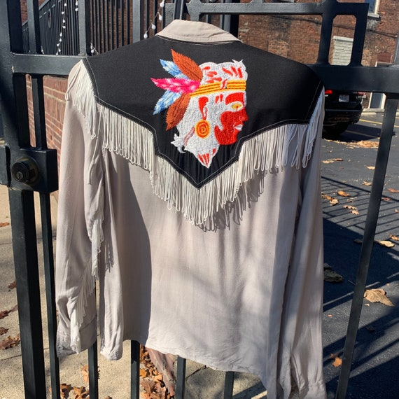 Rare Vintage western style fringed Native American embroidered shirt
