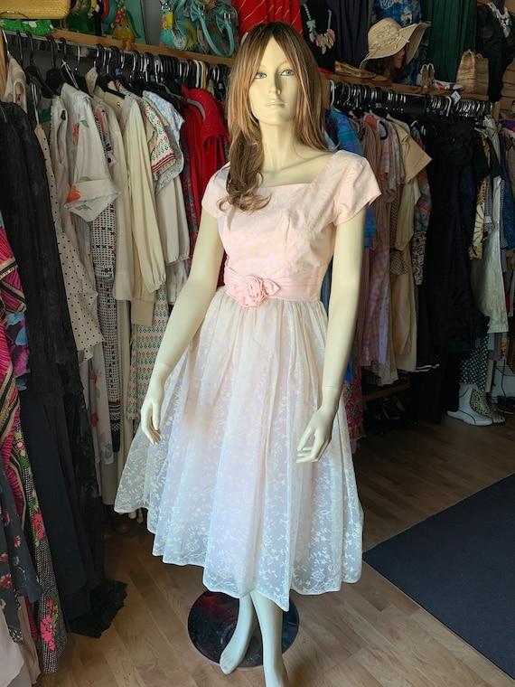 Vintage Pink Floral Petite Dress