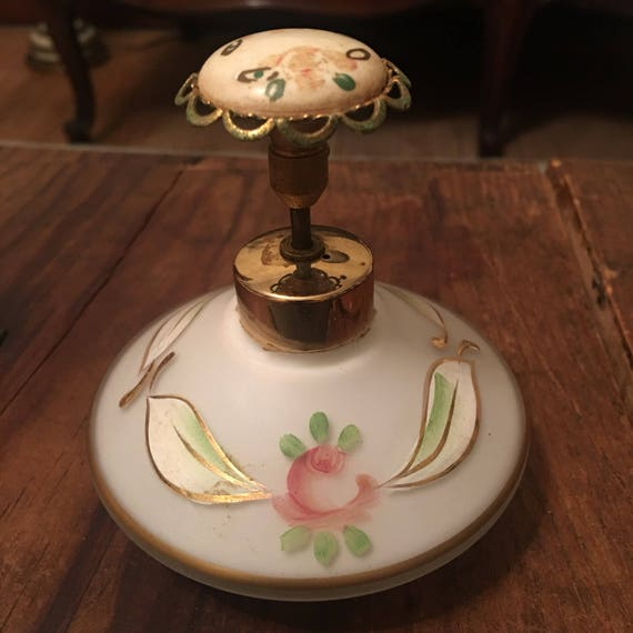 Vintage glass painted perfume bottle