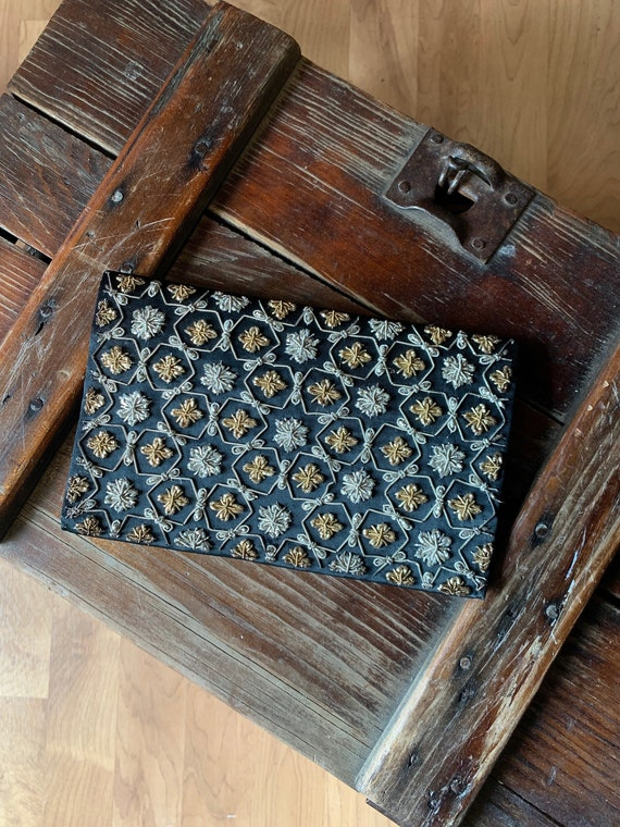 Vintage Embroidered Silver and Gold Clutch