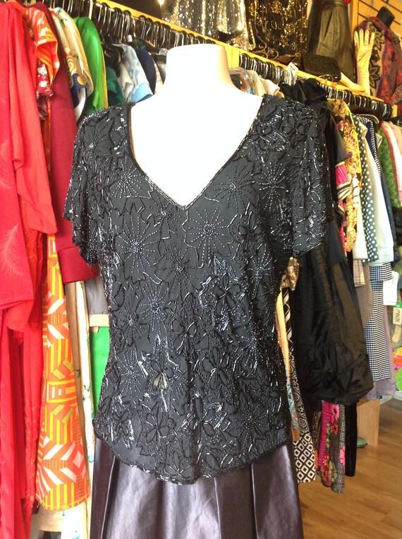 Vintage Paradise NY Black Beaded Blouse