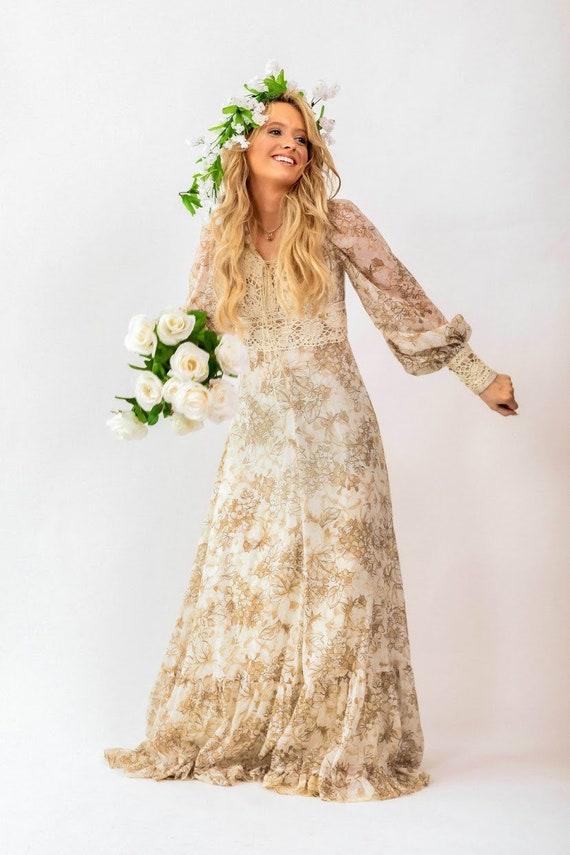 Gunne Sax brown floral boho Prairie Dress - image 6