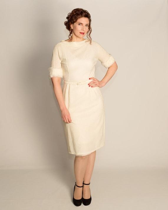 Gorgeous 1950s fur trimmed dress