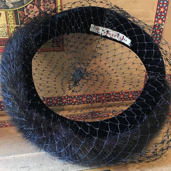 Mink and velvet halo hat