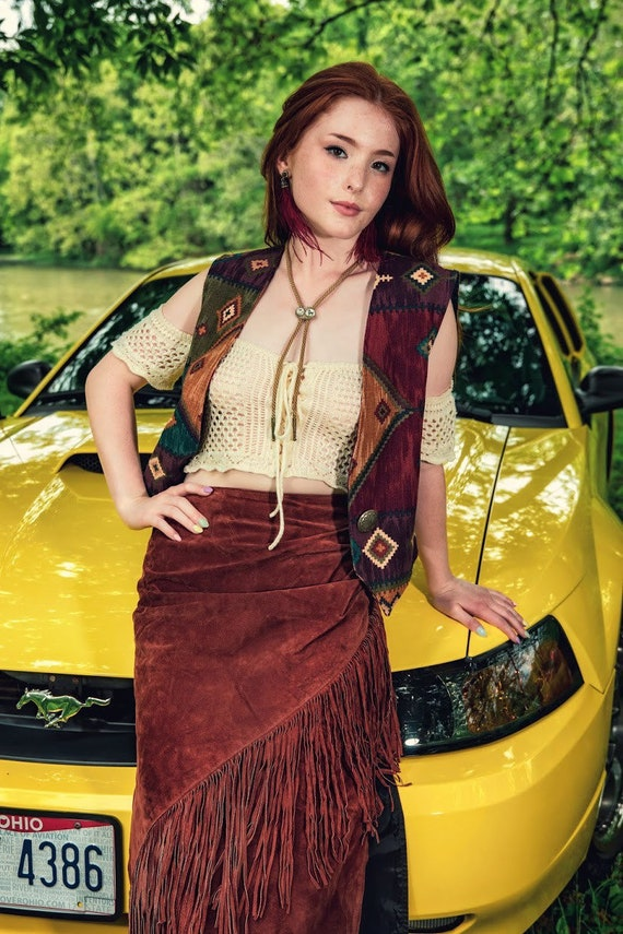 Vintage Frontier Collection brown fringed leather