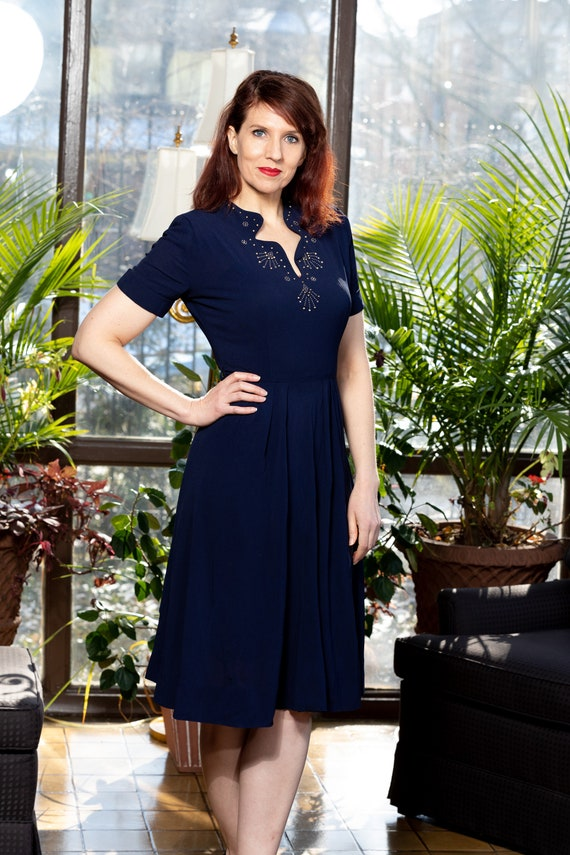 1940s navy blue dress