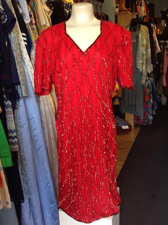 Vintage JMD Red Sequin Dress