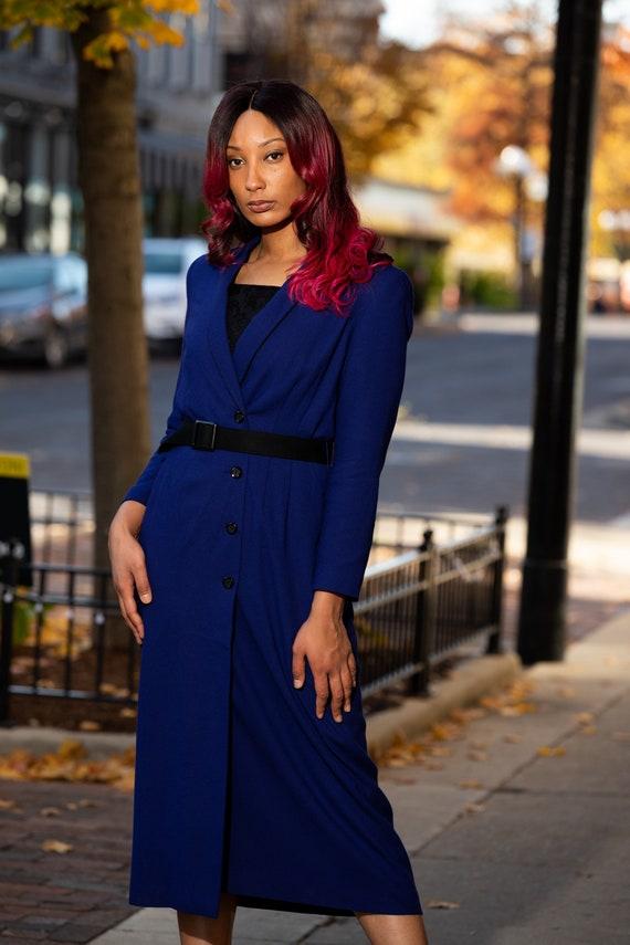 Royal blue long dress coat