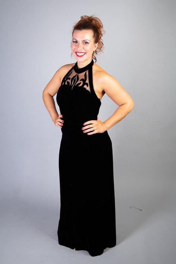 Black velvet 90s vintage dress