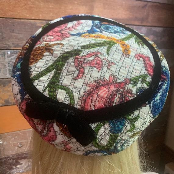 Vintage floral velvet hat