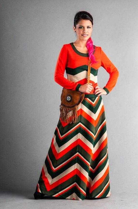 1970s chevron skirt set
