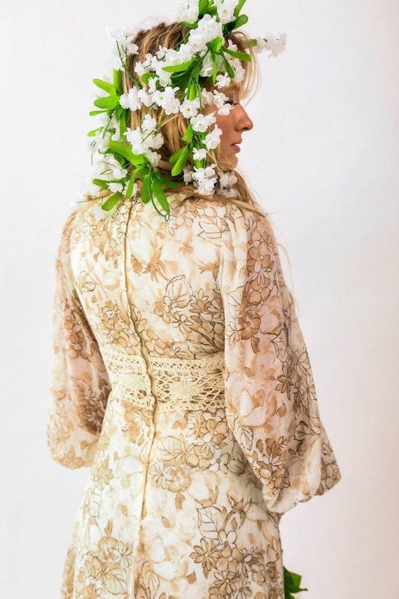Gunne Sax brown floral boho Prairie Dress - image 4