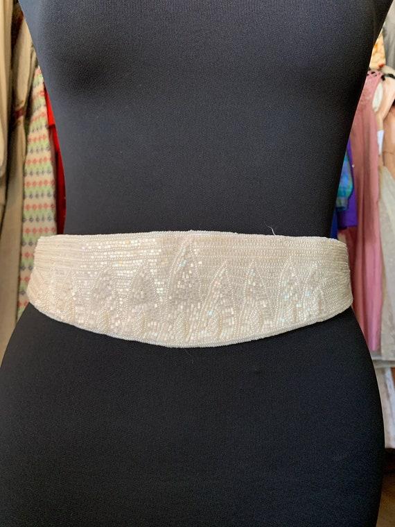 Vintage Milor White Beaded Belt