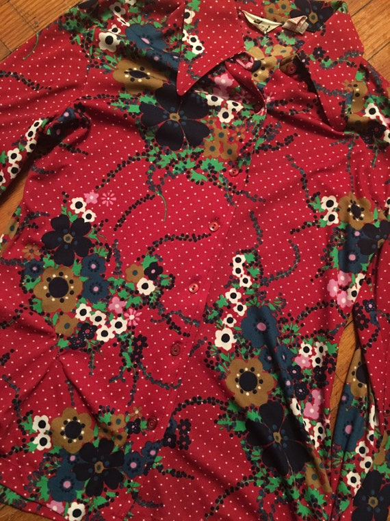 70s floral polka dot button up - image 3