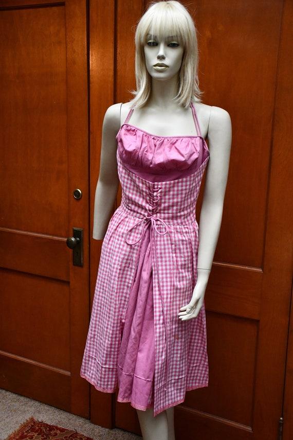 1950s Taffys of California pink gingham  dress