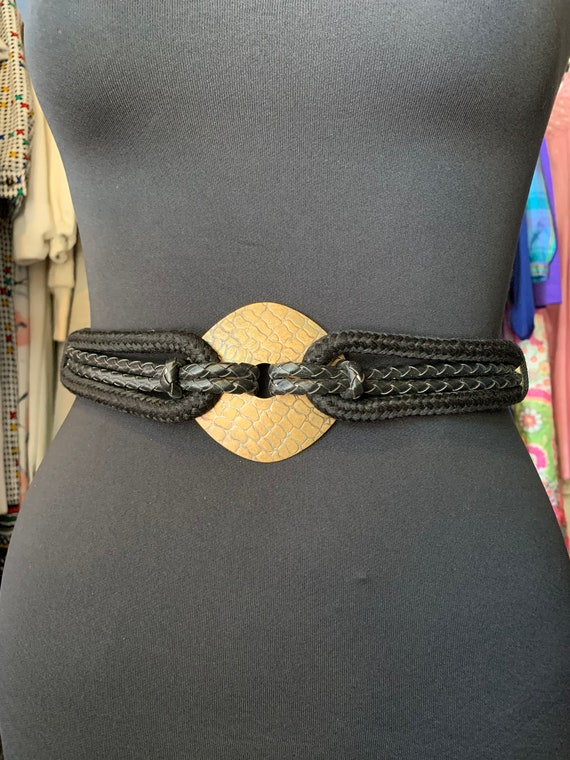 """Vintage """"Leather Shop"""" Hook Black Belt"""