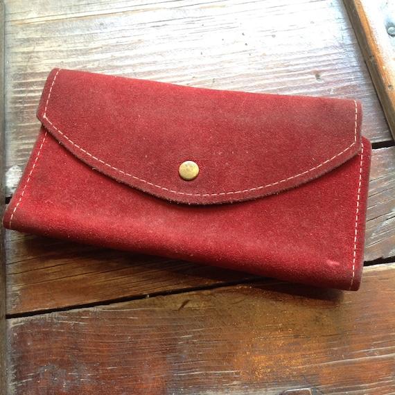 Vintage Red Suede Wallet