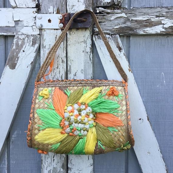 60s straw purse
