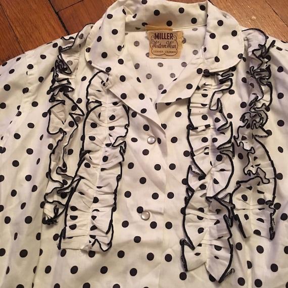 50s Miller western wear polka dot snap shirt - image 4