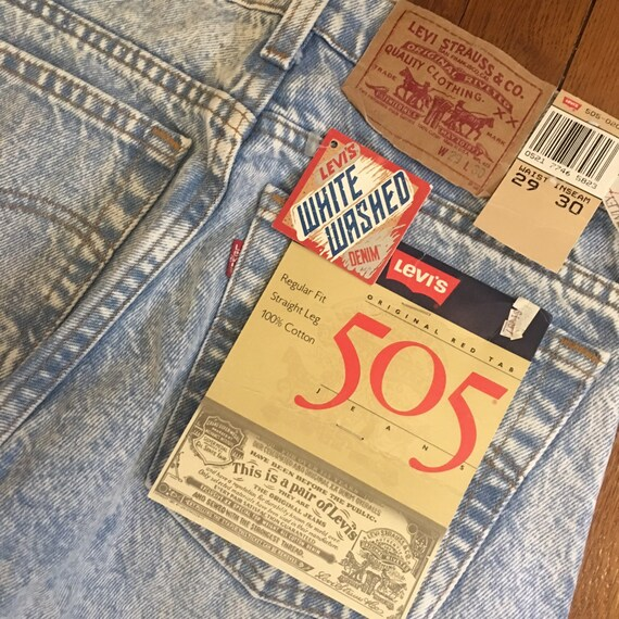 RARE vintage 505 levi white washed jeans new with