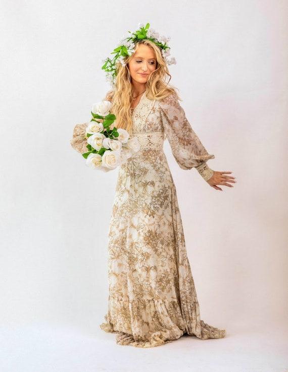 Gunne Sax brown floral boho Prairie Dress - image 2