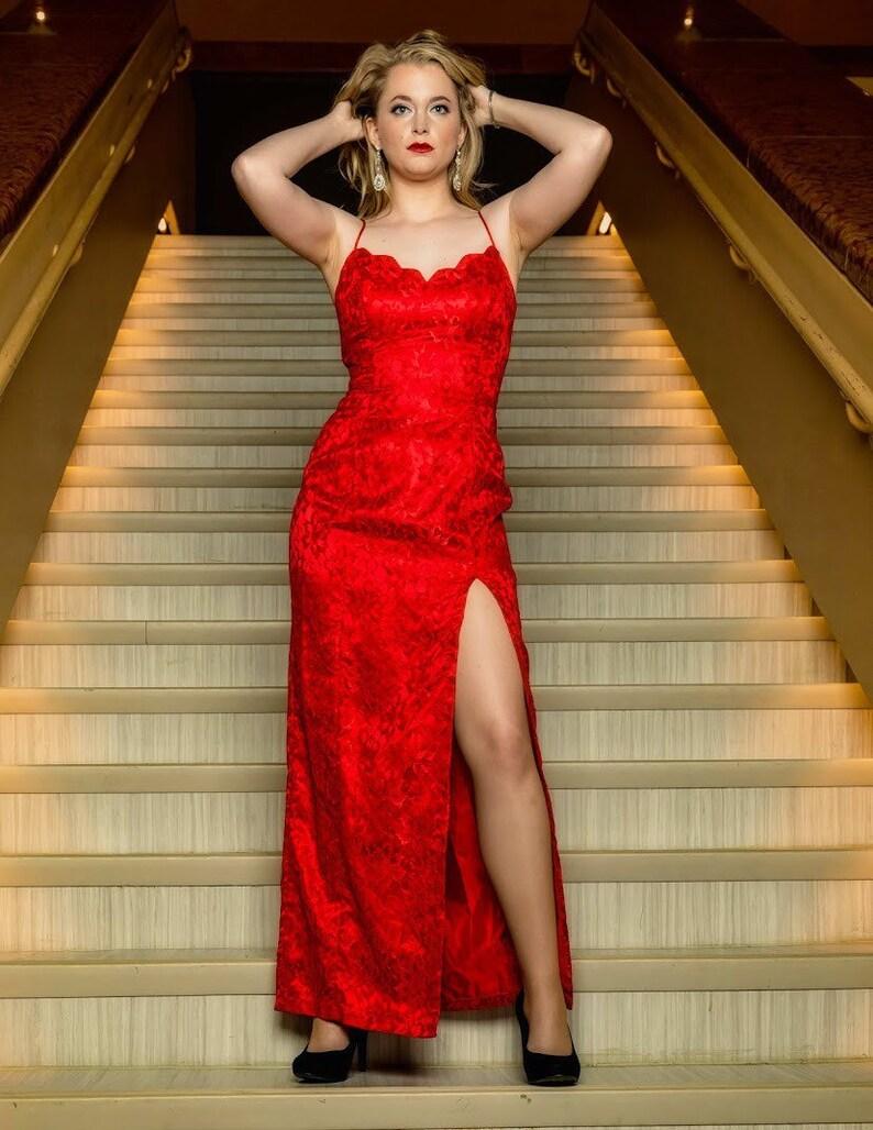 LA Glow red lace formal dress